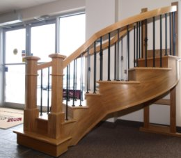 Photo of a display staircase in our showroom.