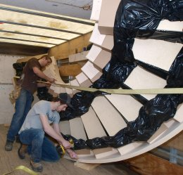 Photo of a staircase being prepared for safe delivery.