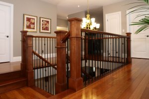 Photo of finished railings in a home.